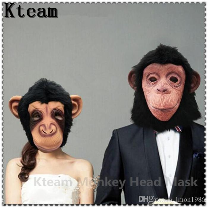 Wholesale-Super Lovely Monkey Head Latex Mask Full Face Adult Mask Halloween Masquerade Fancy Dress Party Cosplay Costume Cute Animal Mask