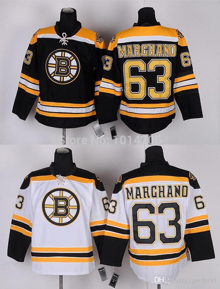 Compre 30 Equipos Venta Al Por Mayor Brad Marchand Jersey # 63 Boston Bruins  Jerseys Negro Hogar Blanco Camino Barato Hockey Sobre Hielo Jerseys A  $25.73 ...