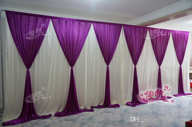 New Fashion 10ft20ft Wedding Stage Curtain Purple Wedding Backdrop