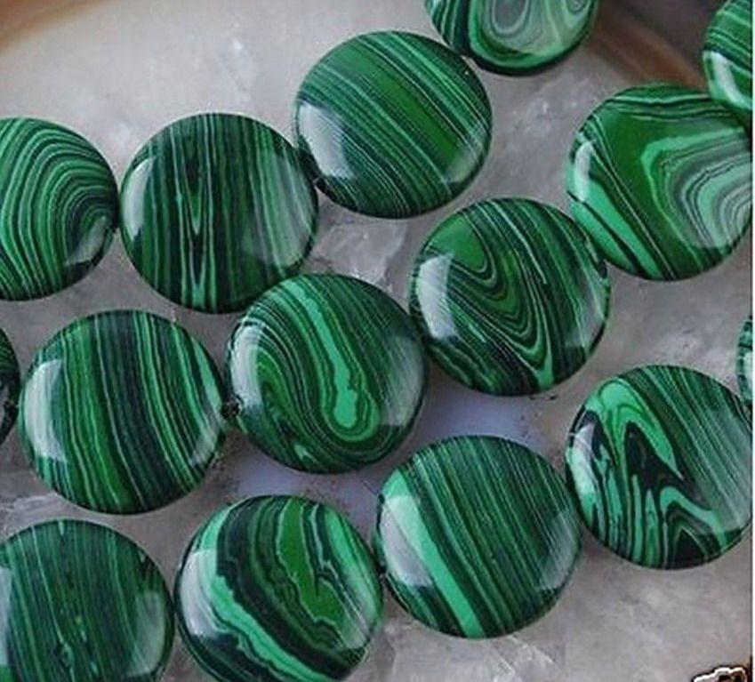Yeni 12mm Yeşil Renkli Malakit Mücevher Sikke Gevşek Boncuk 15 ''