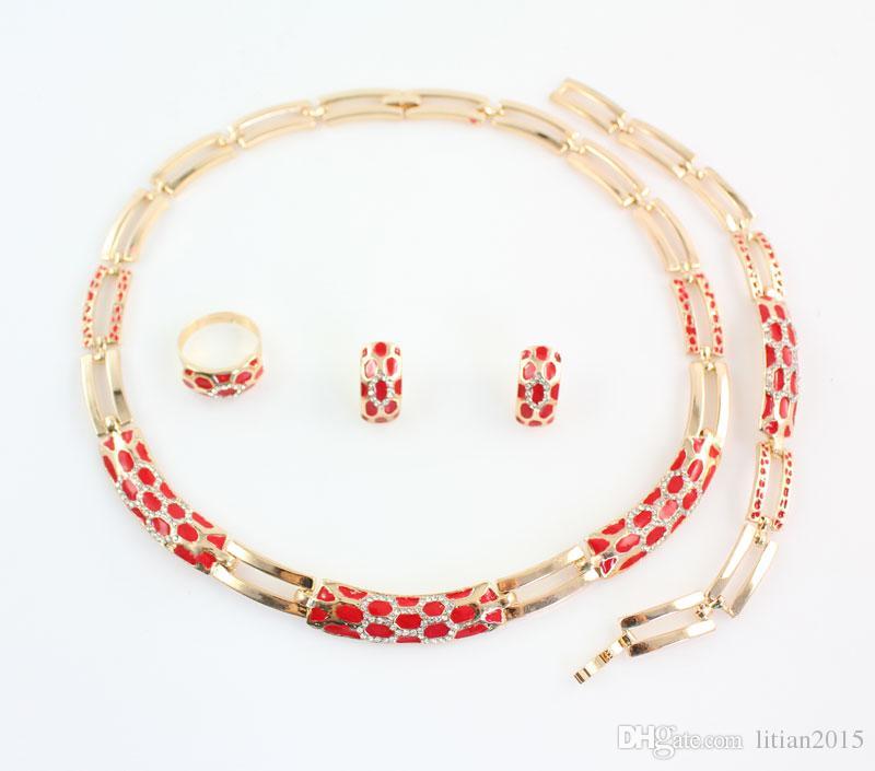 Африканские Бусы Комплекты Ювелирных Изделий Модные Свадебные Аксессуары Женщины Кристалл Позолоченные Серьги Ожерелья Нигерийский Воротник Платья