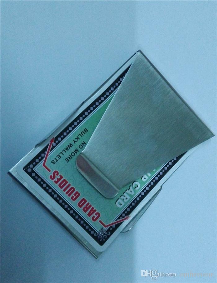 2015 Geschenk heißer Verkauf Detonation Persönlichkeit Modell Herren Silber Edelstahl Breit Credit Bills Geld Bargeld Taschen Clip BG0004