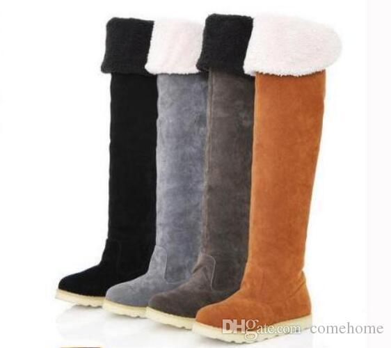 2a0b185d4d0d9 Hot sale New Women's Suede Flat Boots Winter Thigh High Boots /Over The Knee  snow Boots Shoes