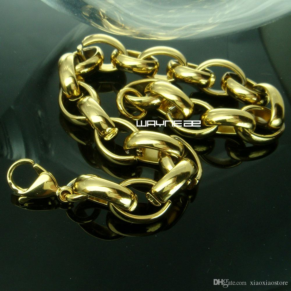 b169 Braccialetti a catena in acciaio inossidabile riempito in oro 18k con nuovo stile largo 10 mm