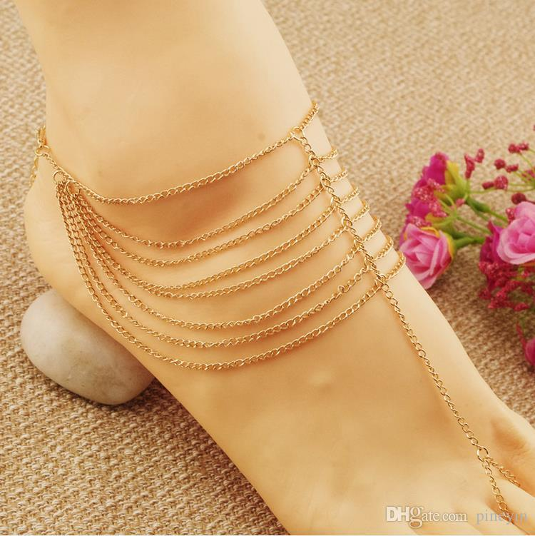 Gold Beach Fashion Multi Tassel Toe Bracelet Chain Link Foot Jewelry Anklet for women and girls C013