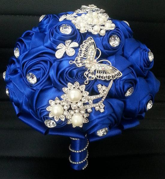 Royal Blue Romantic Rose Wedding Bouquets With Crystal Rhinestone ...