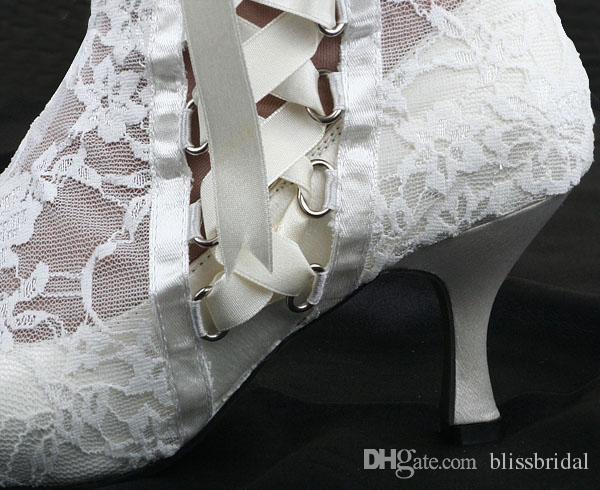 Модный заостренный носок 8 см высокие каблуки прозрачные белые кружевные красоты выпускного вечера вечеринка платье женщины леди Bridal свадебные сапоги обувь обувь