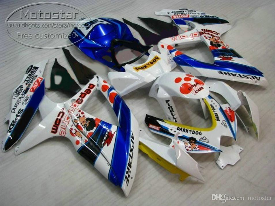Venda quente carenagem kit para SUZUKI GSXR750 GSXR600 2008 2009 2010 K8 K9 GSX-R600 / 750 08-10 branco azul carenagens DARK DOG set R50P