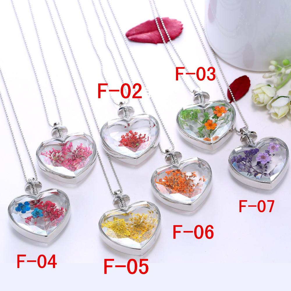 2015New Arrival Purple Dry Flower Glass Lovers Heart necklace for women,Fashion Silver Wholesale ladies Pendant Necklaces