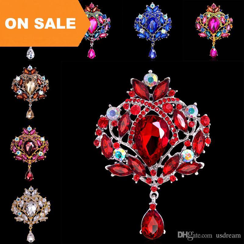 Luxury 18K Rhinestone Crystal Flower Water Drop Brooches Pins for Women Men  Brooch Fashion Wedding Jewelry Christmas Gift 170263 Crystal Brooches  Flower ... 33fdd5252612