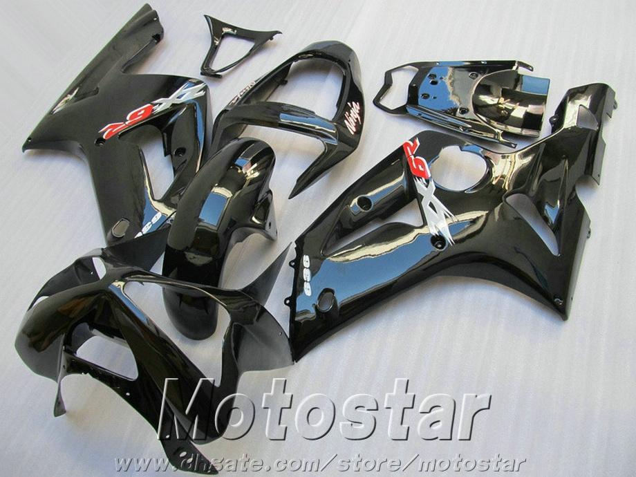 Kit de carenado de precio más bajo para kawasaki Ninja ZX-6R 03 04 todos los carenados personalizados de color negro brillante conjunto ZX6R 636 2003 2004 SD8