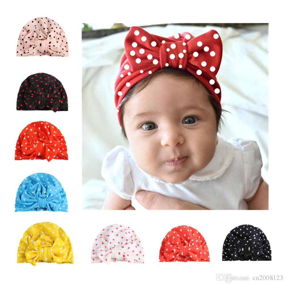2019 New Arrival Baby Girls Dot Print Bow Tie Knot Hats Fashion ... 0b937f68368