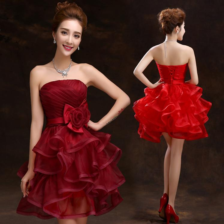 Burgundy Ball Gown Short Cocktail Dresses with Ruffles Mini Tiered Peplum Prom Dresses Lace-up Party Graduation Gowns with Handmade Flower