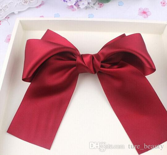 10%off Fashion Women Girls Lovely Large Big Satin Hair Bow Hair flowers clips Boutique Ribbon hair Accessories