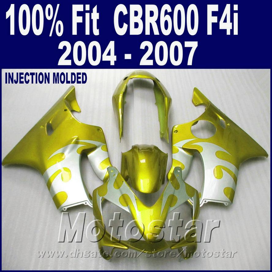 Injection for HONDA CBR 600 F4i fairing 2004 2005 2006 2007 yellow golden cbr600 f4i 04 05 06 07 fairing kit GSDA