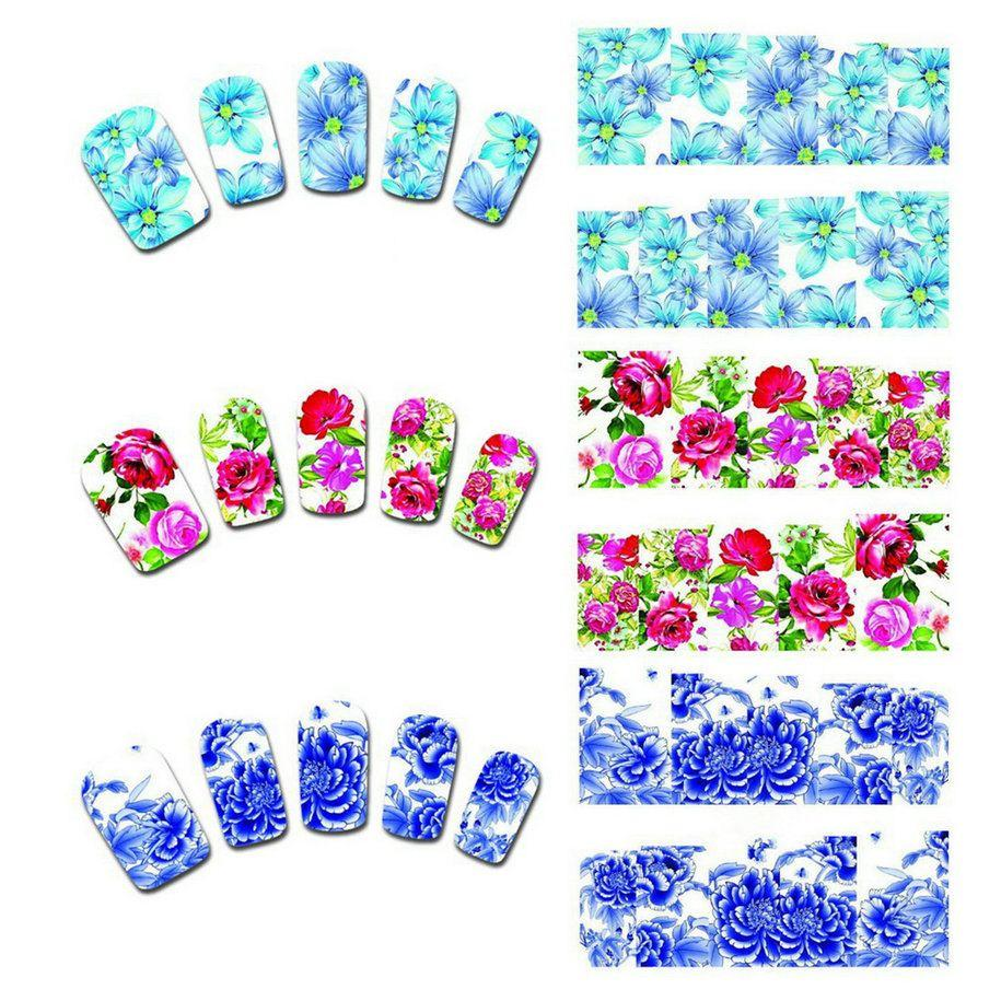 Pretty 50 Sheets Flower Nail Art Stickers Manicure Decals Diy ...