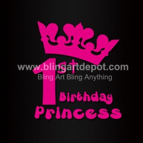 Birthday Princess Hotfix Vinyl Transfers Crown Iron On Mtifs For ... bd04d6efd53a