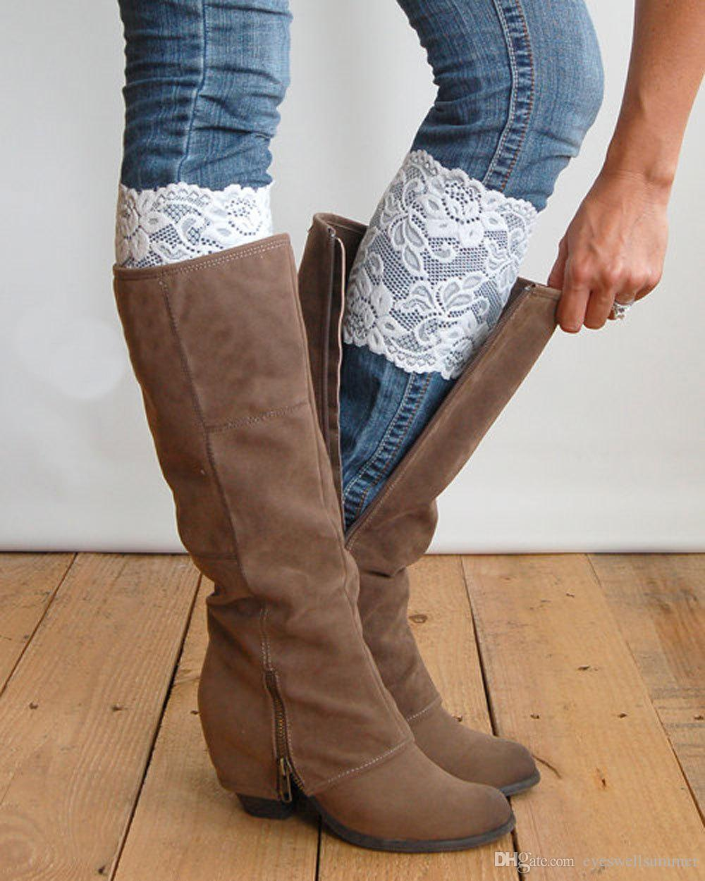 New Stretch Lace Boot Cuffs 13 Colors High Quality Women Flower Leg Warmers Lace Trim Toppers Socks