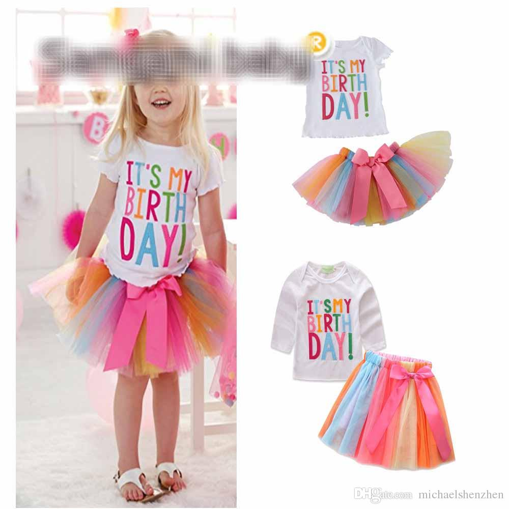 2019 Girls Birthday Shirt Bow Skirt Kids Party White Tees Tops Clothing Suits Skirts Summer Rainbow From Michaelshenzhen 744