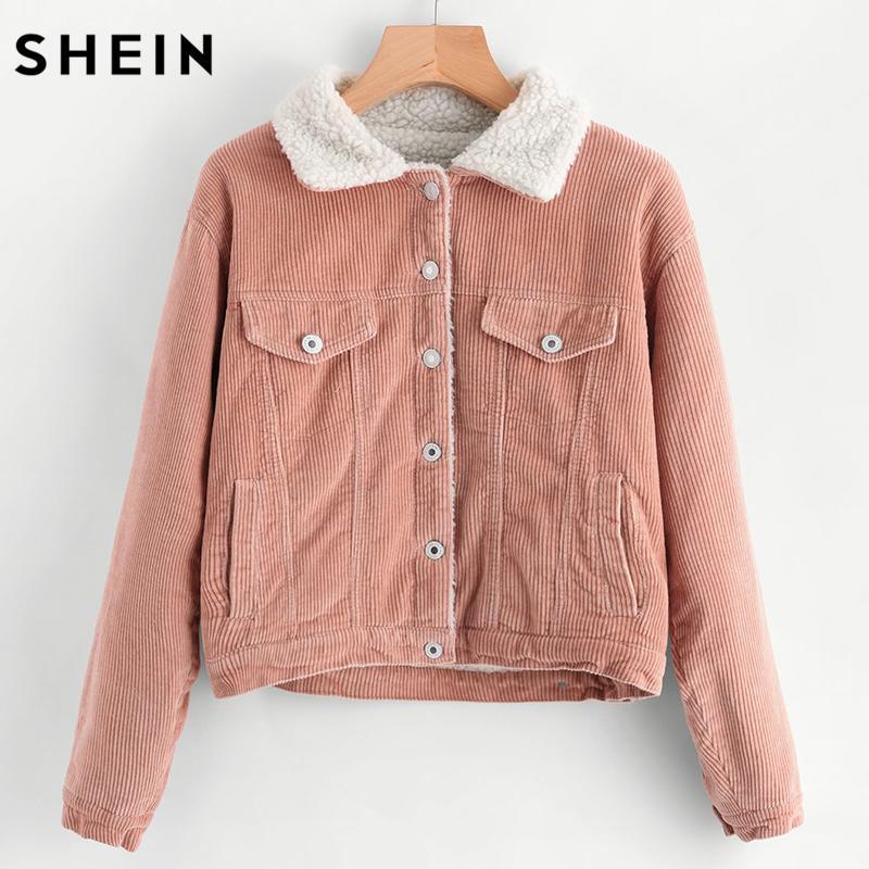 Red corduroy sherpa jacket women's