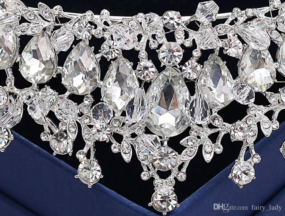 Luxury Crystal Jewelry Wedding Crowns Headpieces 2018 Silver Metal Hair Tiaras Headbands For Women Party Bridal Gown