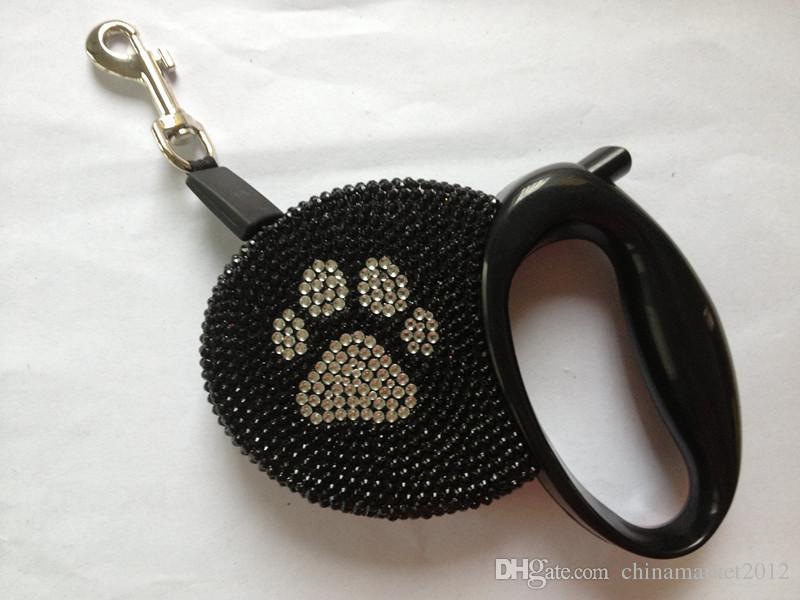 送料無料リーシュラシ豪華なクリスタルペット犬の格納式リーシュレッシュフレキシブルリバートリード線ペットクリスタル/ロット