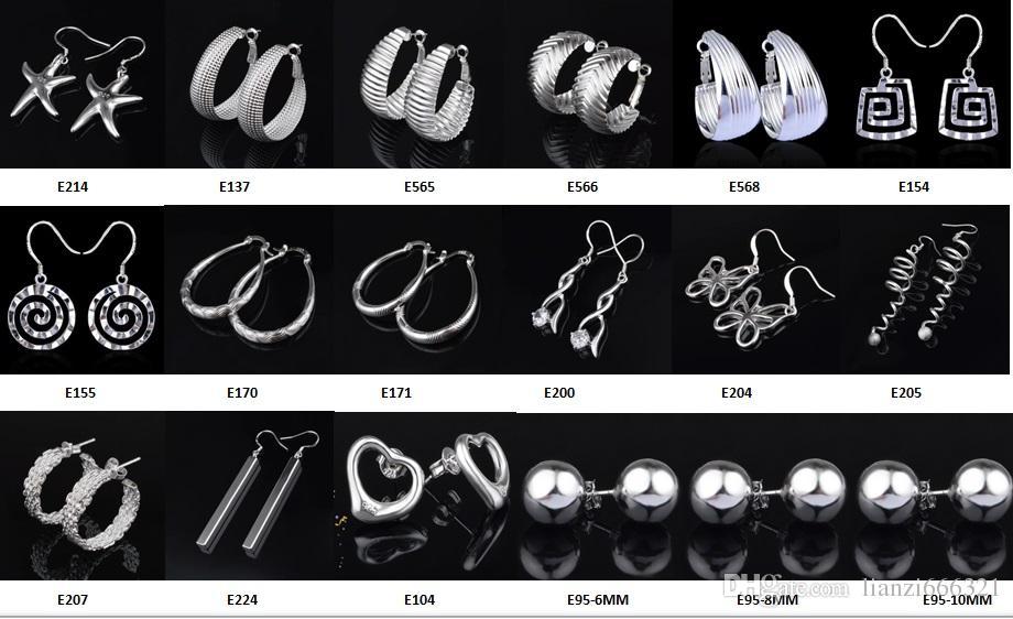 패션 쥬얼리 제조 혼합 50 개 많은 귀걸이 925 스털링 실버 보석 공장 가격 패션 샤인 귀걸이 1271