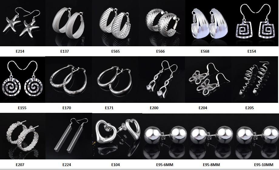 Mode fabricant de bijoux Mixte Beaucoup de boucles d'oreilles 925 Sterling Silver Bijoux usine Price Fashion Boucles d'oreilles 1271