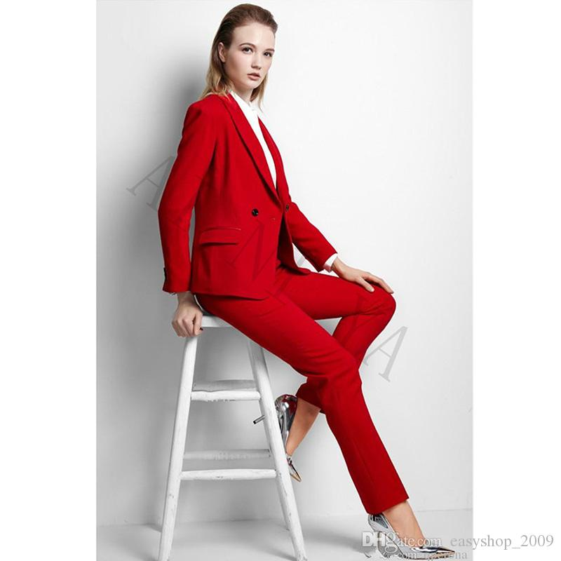 2019 Jacket Pants Womens Business Suits Red Double Breasted Female