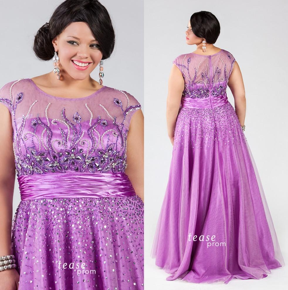 Compre Púrpura Más El Tamaño De Vestidos De Baile Diamantes De ...