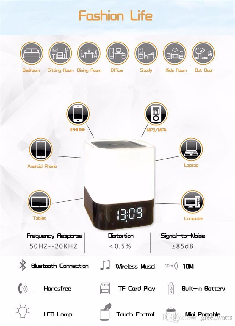 lámpara de mesa de altavoz inalámbrico portátil altavoz Bluetooth luz de la noche con el micrófono Alarma Inteligente tacto LED lámpara del humor del reloj tarjeta de radio del TF