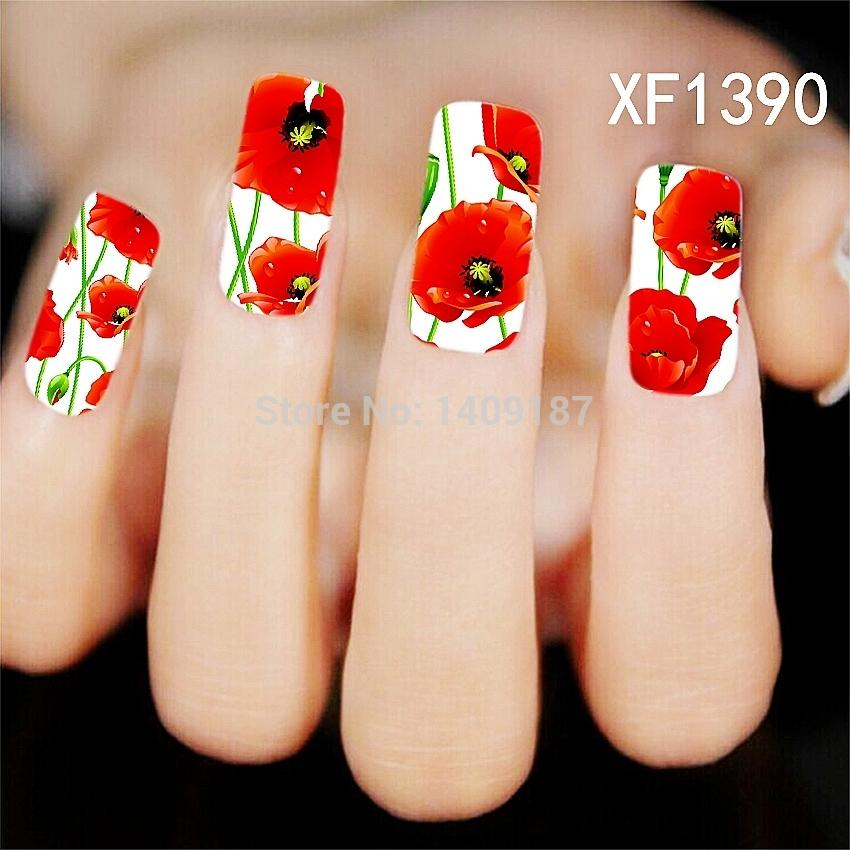 Min Order $5 Shiny Bright Color Lotus Flower Water Transfer Nail ...