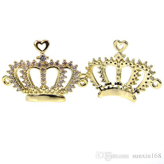 Micro Pave CZ Filigree Crown Connectors Charms,Real Gold Plated Princess Crown Charm Pendant For Bracelet Necklace Making Jewelry Supplies