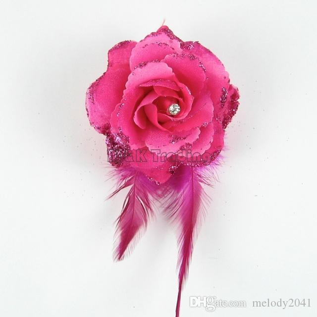 새로운 가짜 꽃 번쩍 이는 가루 예쁜 인공 꽃 깃털 장식 라인 석 장미 믹스 색상 무료 배송