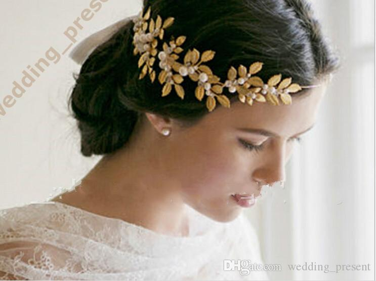 2015 New Coming Shiny Gold Leaves Bridal Tiaras Hair Accessories With Faux Pearls Wedding Crown Bride Jewelery Headpiece Comb