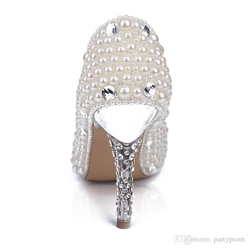 3 pollici Single Shoes White Pearl Scarpe da sposa Scarpe da sposa tacco alto Stilettlo Heel Wedding Celebration Party pumps