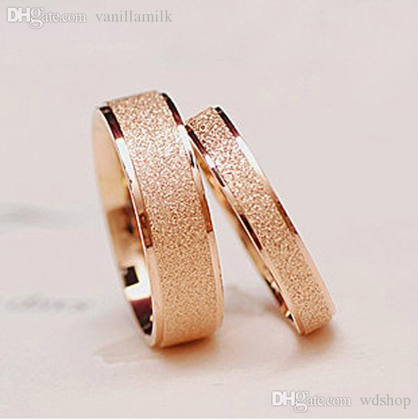 WholesaleMatte Titanium Steel Rose Goldplated Ring Finger Ring