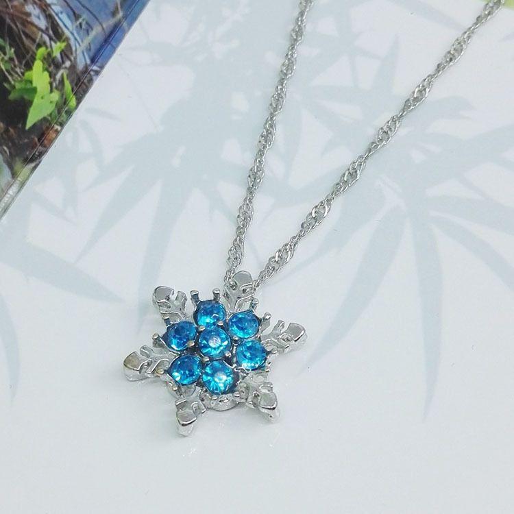 Moda Jóias De Cristal Azul Do Floco De Neve Congelado Flor 925 Pingentes De Colar De Prata Com Cadeia