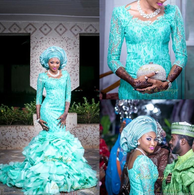 Mermaid Lace Muslim Wedding Dresses Three Quarters Sleeves Sheer See ...