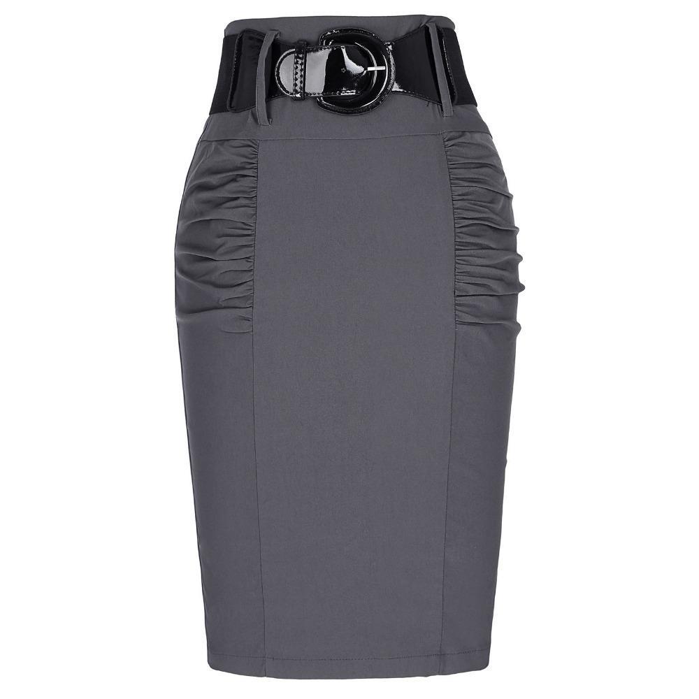 eee5decbc166 Al por mayor-2017 Nueva Sexy Lápiz faldas para mujer negocio trabajo  oficina falda con cinturón de cintura alta elástico casual Bodycon Slim Fit  ...