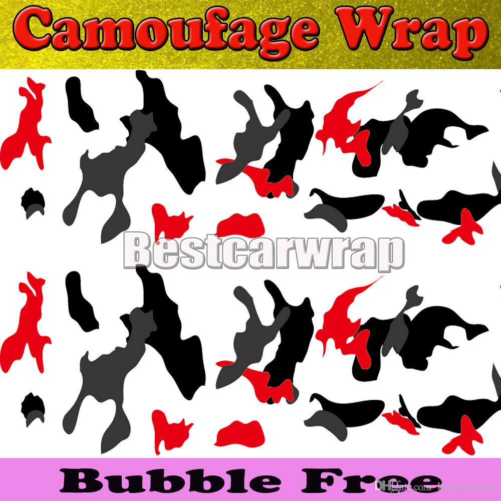 Red white Black arctic Camo Vinyl Car Wrap Film With Air Rlease Gloss / Matt Snow Camouflage Pixel Car Sticker 1.52x30m/Roll5x100ft