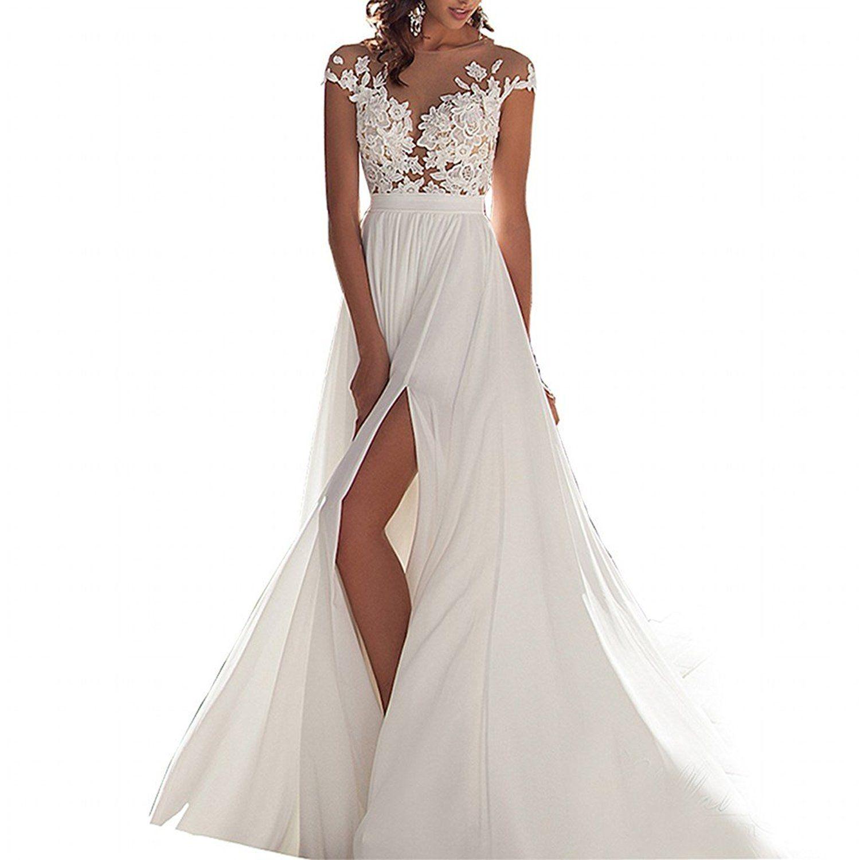 Discount Simple Scoop Chiffon Beach Wedding Dress 2016 Lace Back