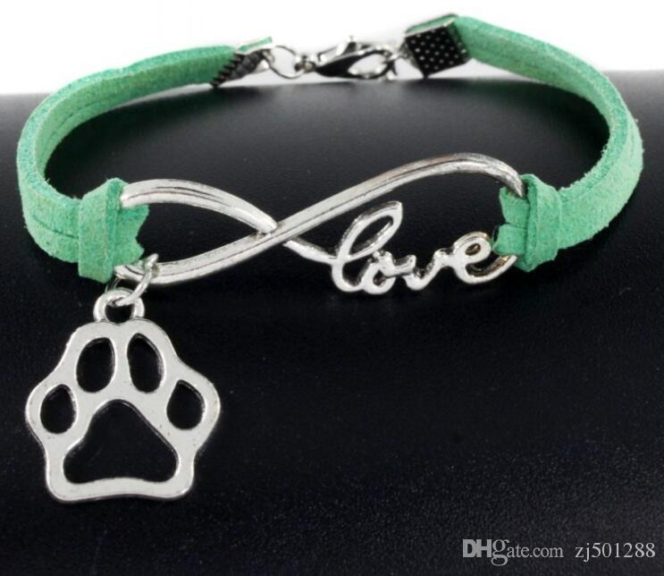 Vintage Silver Infinity Bear's Paw Dog Paw Prints Charms Bracelets Bangle For Women Mixed color Velvet rope Bracelets Accessories Gift