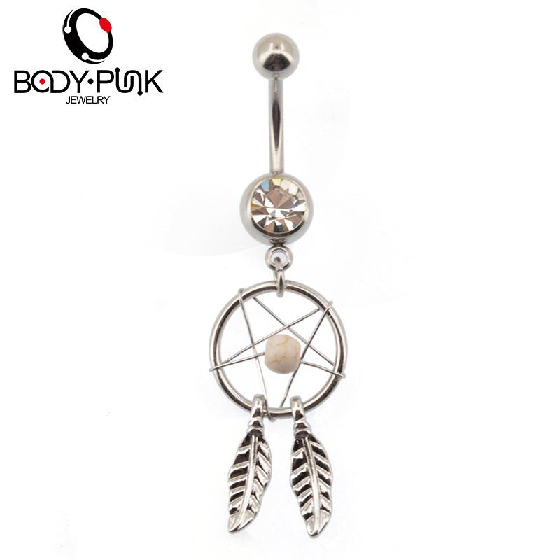 BODY PUNK One Set acciaio inossidabile Dreamcather Pack curva ombelico ombelico anello body piercing ombelico gioielli corpo NR 121
