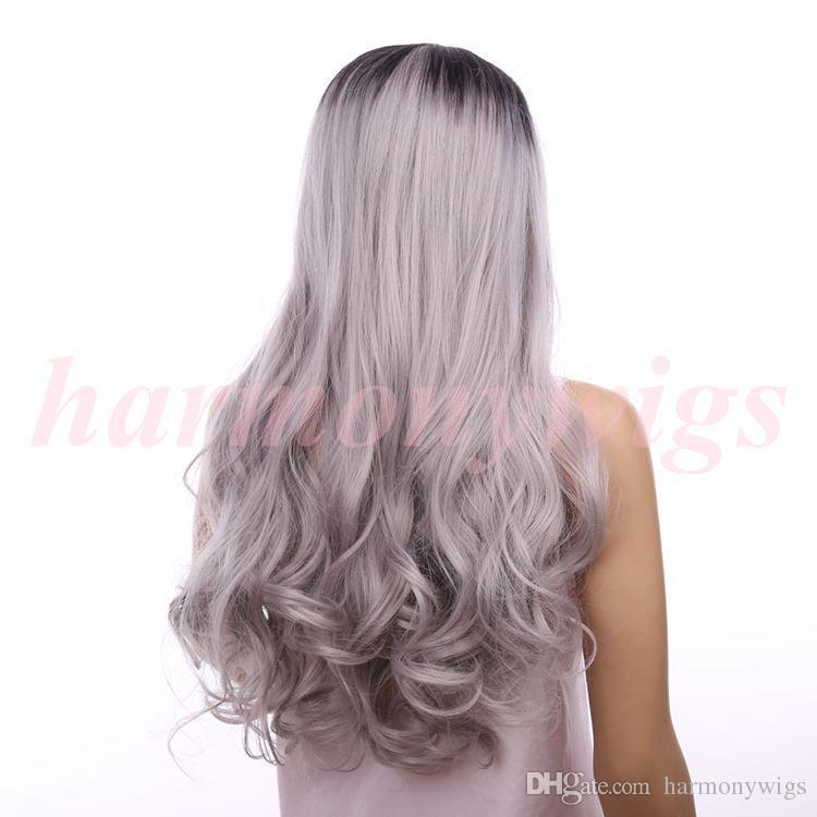 Pelucas de pelo Lace Front Wigs 18inch ombre color chocolate Black Grey big wave Rizado sintético resistente al calor