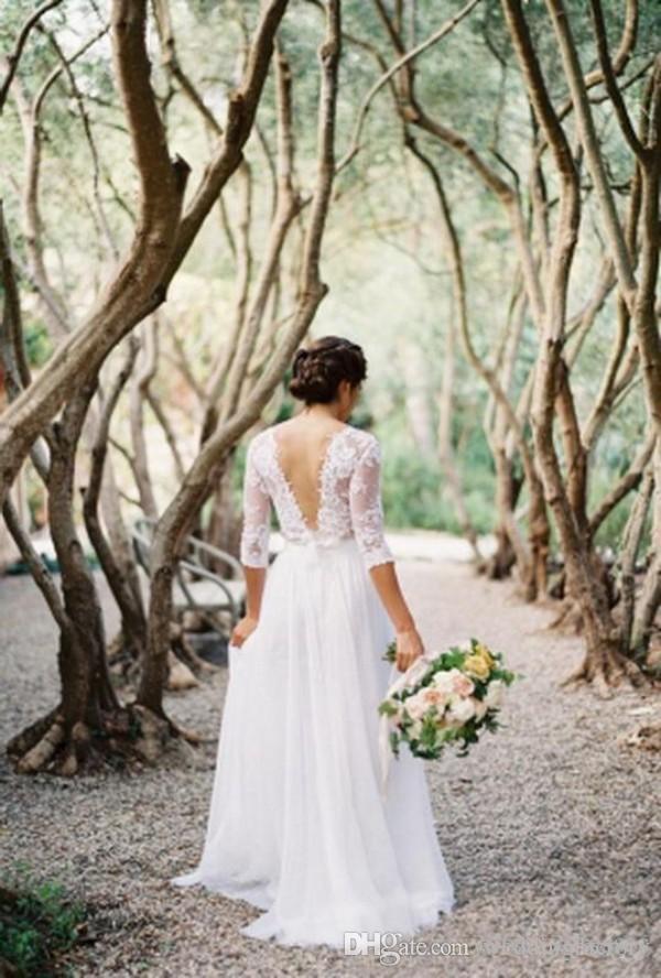Sexig Illusion Bröllopsklänningar En Linje V Nacke Se igenom Half Sleeves Lace Appliques Golvlängd Chiffon Bridal Gowns Garden Party