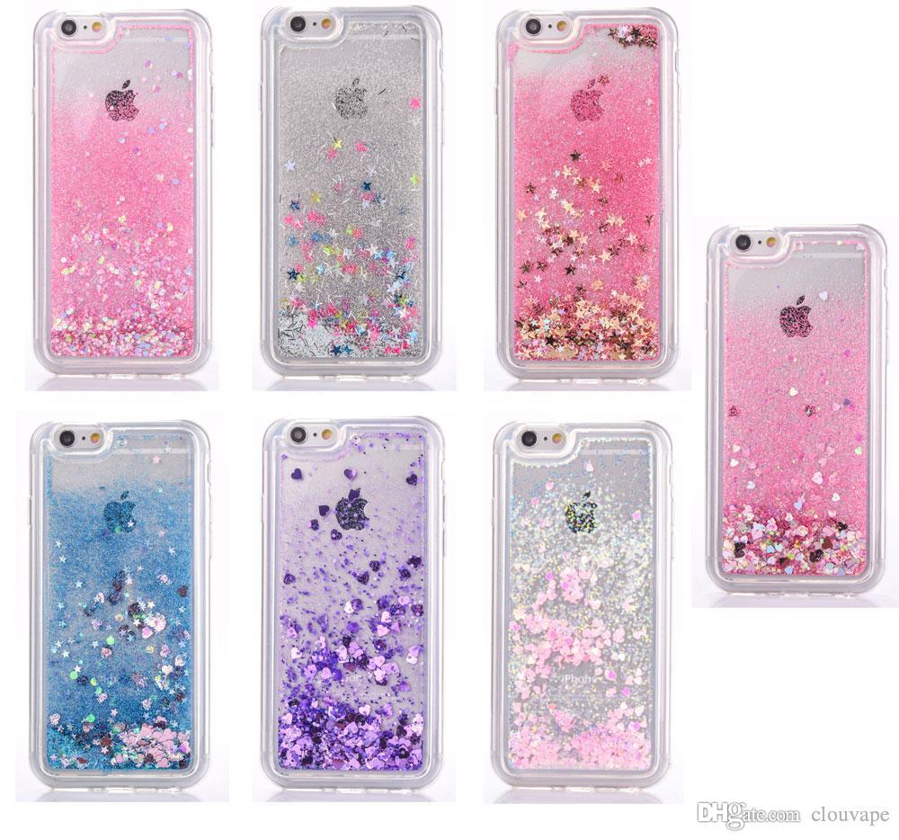 super popular ffadb 64f0b Star liquid glitter phone case for iphone X 7 plus 8Plus XS XR XS Max  dynamic bling soft tpu edge PC back case