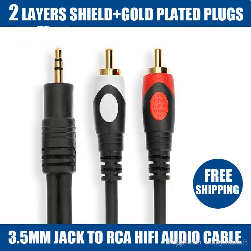 2015 new limited 1.8m/6 ft tv micro connector mini usb 1.8m high quality jack 3.5mm to 2 rca for audio cable adapter male cabo ipod