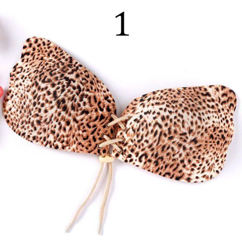 Leopardo Silicone Invisível Push Up Bra Sutiã Ajustável Mulheres Instantâneo Mama Elevador Sem Alças Asa de Anjo Forma Backless Bras