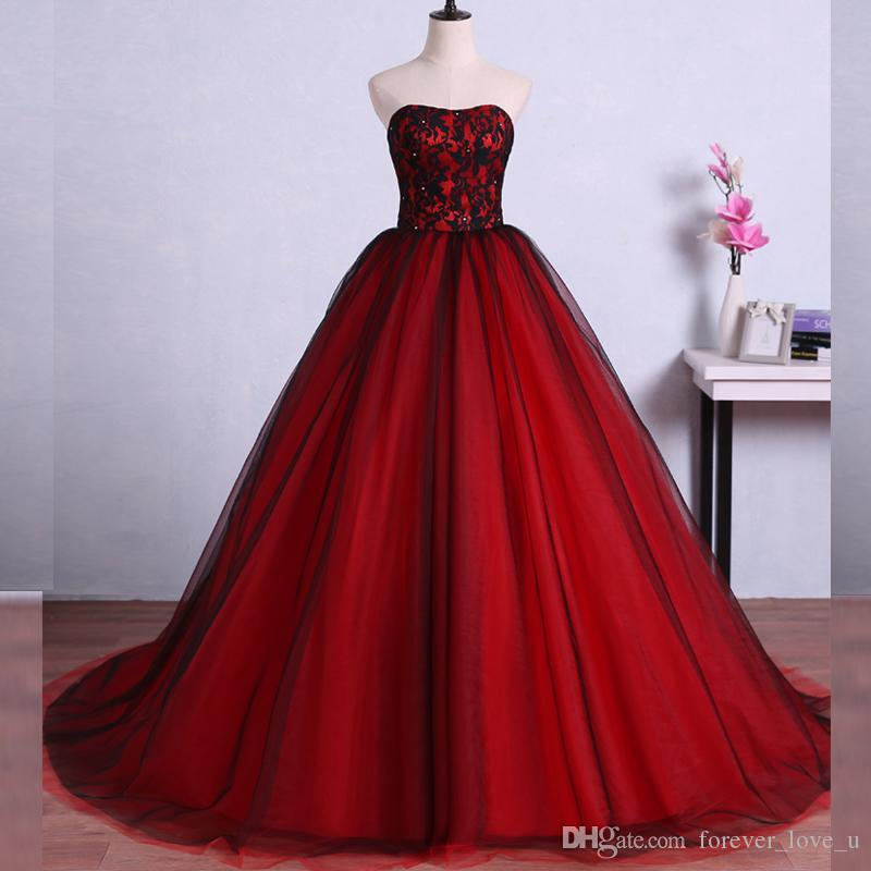 3686bd83e88 2018 Red And Black Ball Gown Prom Dress Sweetheart Sleeveless Beads Lace  Corset Lace Up Back Tulle Evening Party Gowns Custom Made Prom Dresses  Birmingham ...